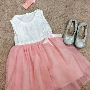 Pretty toddler Girl dress and silver slippers